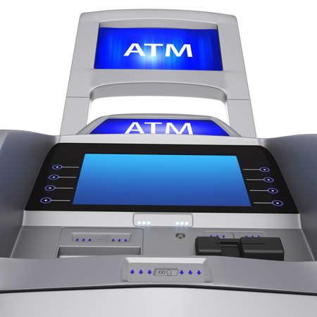 bankomat: The terminal display and modern style. ATM for cash settlement services on a white background Stock Photo