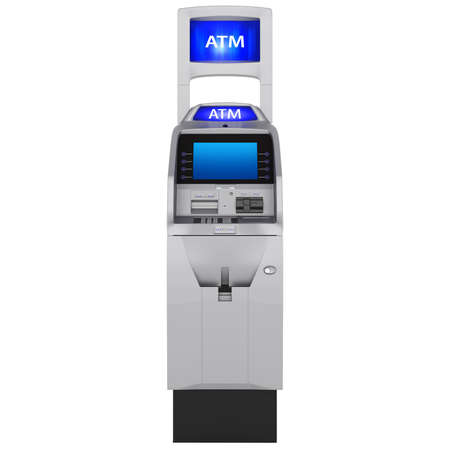 Display and keyboard. Cash ATM with buttons and touch screen isolated on white background photo
