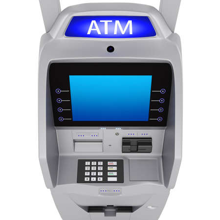Large display in the banking terminal. The dial keypad modern ATM on a white background photo