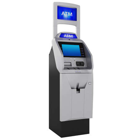 Terminal with two displays. Cash ATM with buttons and touch screen isolated on white background photo