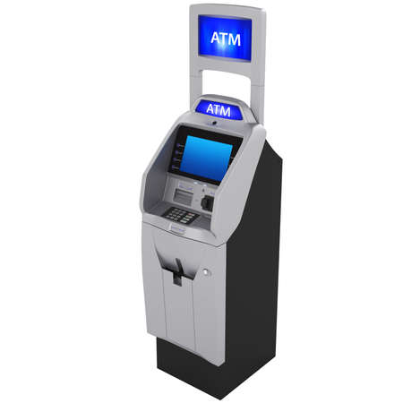 bankomat: Terminal in a modern style with a large metallic color touch screen monitor isolated on a white background