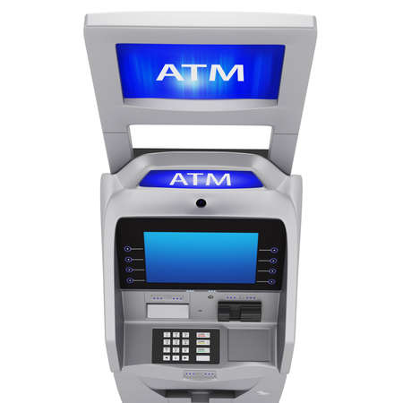 bankomat: Terminal banking services to the display and keyboard. Monitor new terminal on a white background