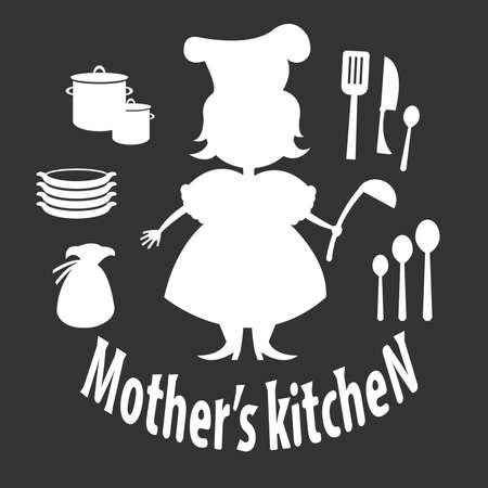 Set silhouette of woman with kitchen utensils Vector