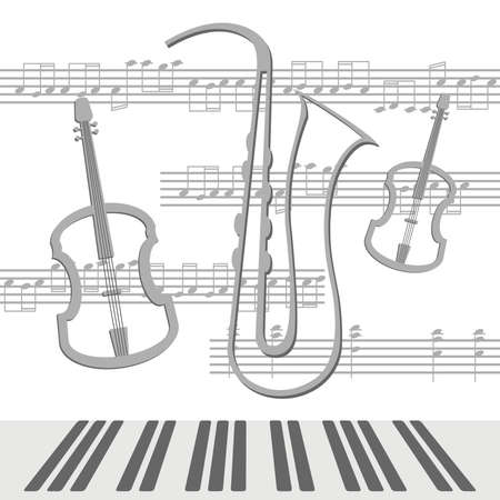 Beautiful background with viola and saxophone with notes Vector