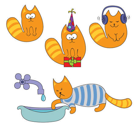 Beautiful cats are celebrating their birthday, listening to music and washing Vector