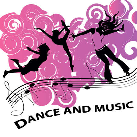 loud music: Beautiful girls in dance. Loud music and pink background Illustration
