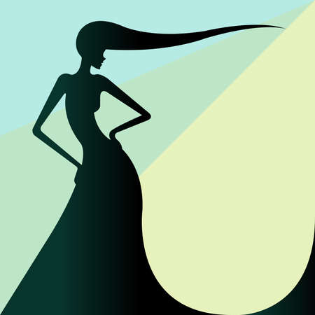 woman back of head: Beautiful silhouette of the girl with long hear in the black colour