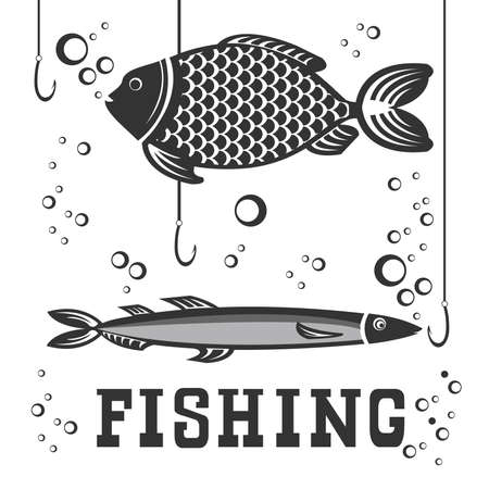 anglers: Original illustration with fish in water for anglers and fishing enthusiasts