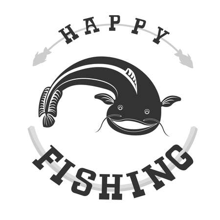 Original logo with fish for anglers and fishing enthusiasts 向量圖像