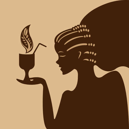 coffeepot: Silhouette of the girl who is drinking coffee