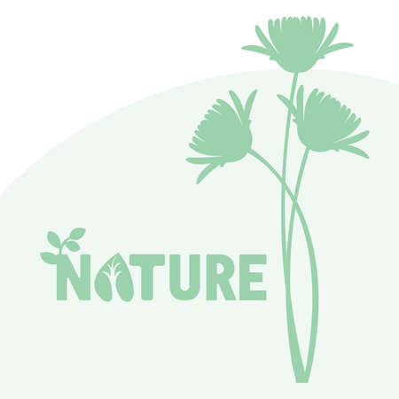 interesting: green flowers and interesting text Illustration