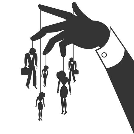 slavery: Silhouette of the hand that controls the businessmen