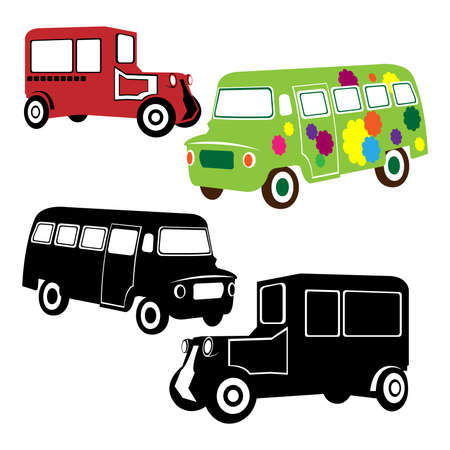 Old transportation vehicles and steam locomotive blueprint design transportation silhouettes in retro and vintage style vector malvernweather Choice Image