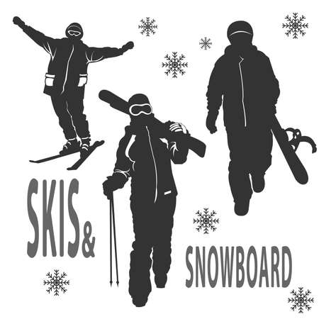 skying: Silhouettes of boy and girls that are skying