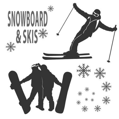 skying: Silhouettes of boy and girls that are skying and boarding Illustration