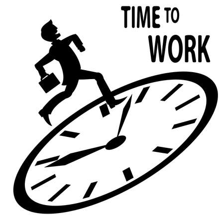 time run away: Man in suit runs to work on the clock Illustration