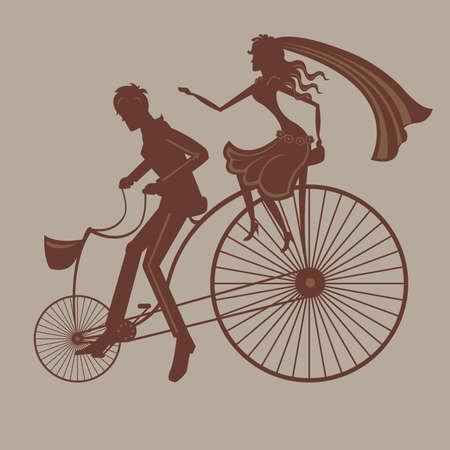 Mooie illustratie met gelukkige echtpaar op de fiets