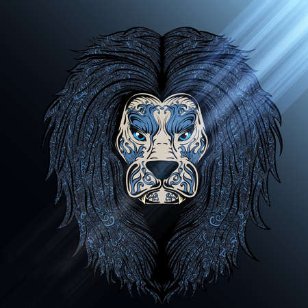 distinguished: stylish hand drawn lion decorated with vintage ornament shined in a blue moon light