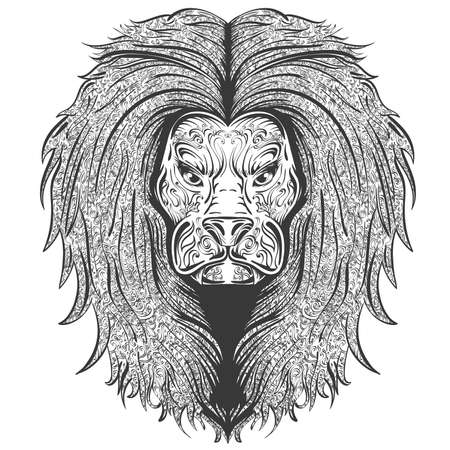 the distinguished: stylish hand drawn lion decorated with vintage ornament