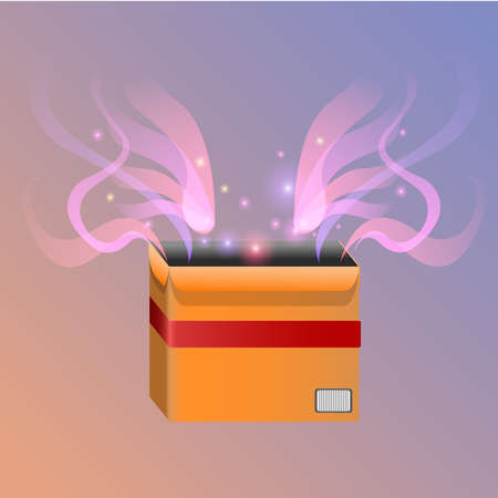 shin: Vector stylised magic box with shin lines and sparkles
