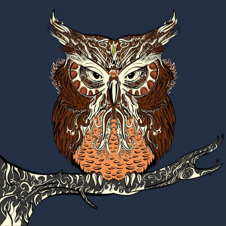 hand drawn owl decorated with vintage ornament