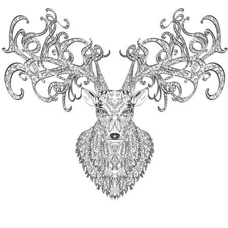 vintage ornament: hand drawn deer covered with vintage ornament
