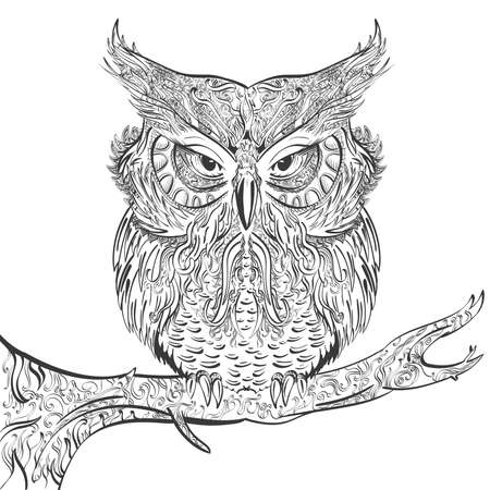 hand drawn owl decorated with vintage ornament black on a white background