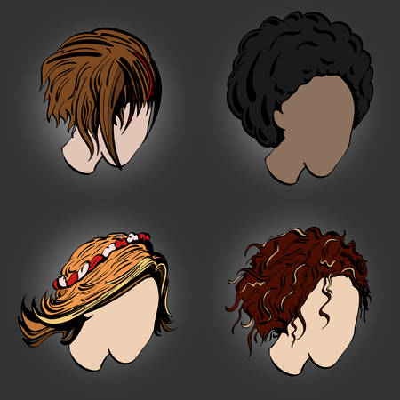 hair cutter: different stylish female hairstyles in profile on a gray background