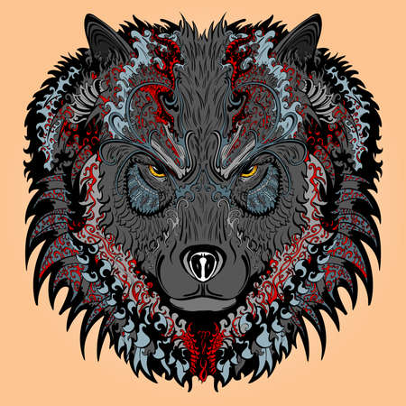 distinguished: hand drawn wolf covered with colorful ornament