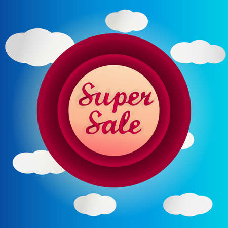 clouded sky: Super sale circle label with white clouded sky Illustration