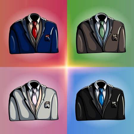 bosom: Elegante estilizada dibuja diferentes chaquetas de colores Vectores