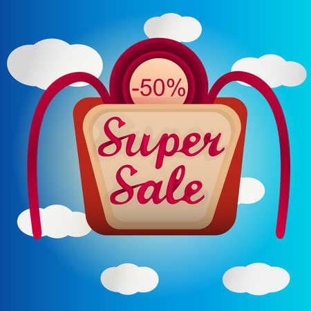 Super sale label with white clouded sky Vector
