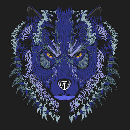 howl: hand drawn wolf blue with vintage ornament