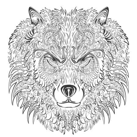 distinguished: hand drawn wolf covered with vintage ornament Illustration