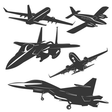 us military: A set of five passenger and military aircraft monochrome, in different positions. Vector illustration Illustration