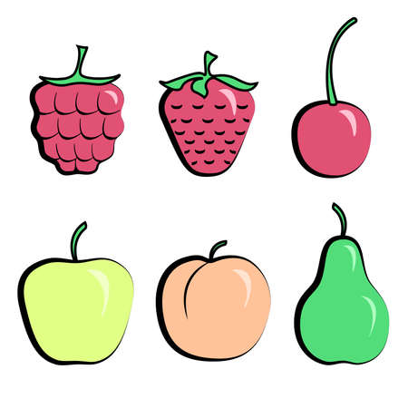 strawberry cartoon: Set of simple vector berries and fruits in color strawberry, raspberry, apple, peach. Vector illustration