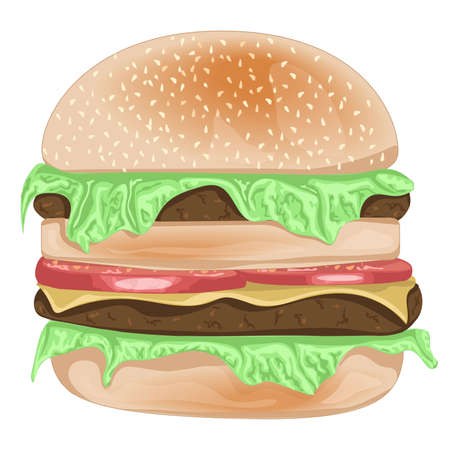 sesame seeds: Vector realistic burger with sesame seeds and cheese, herbs. Vector illustration Illustration
