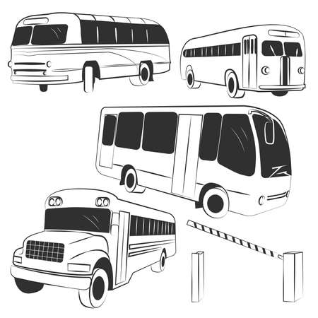 Set of 4 different buses in different positions and striped barrier. Vector illustration