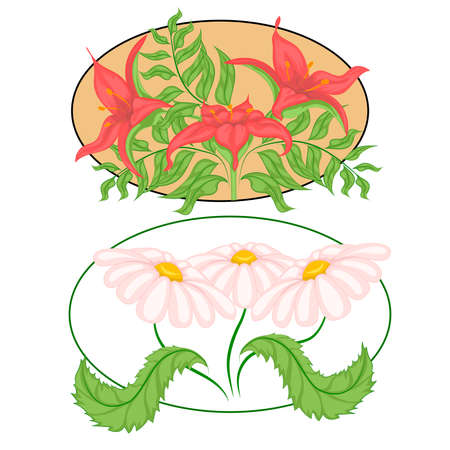 ilustration and painting: Set of color images of flowers and leafs. Bouquets with lilies and daisies. Vector illustration