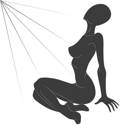 nude model: Monochrome silhouette of a seated girl in the rays of a small detailed elaboration. Vector illustration