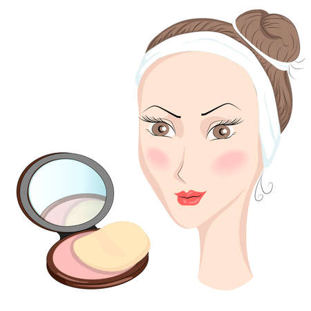 making a face: Decorative cosmetics for girls in cartoon style, blasher peach-colored. Vector illustration