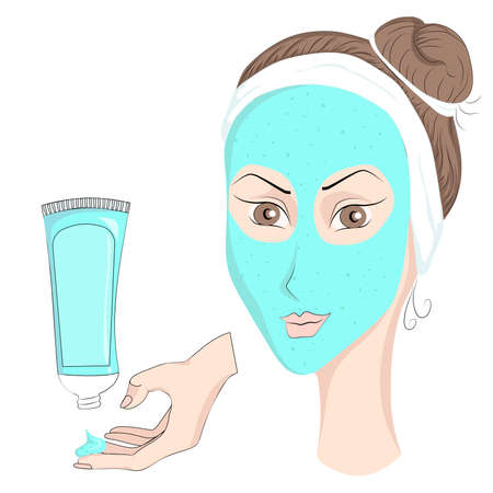 prophylactic: Medical prophylactic cosmetics for girls in cartoon style, face mask. Vector illustration