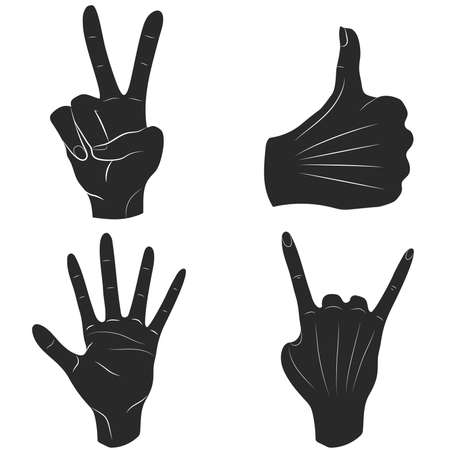 Set of monochrome silhouettes of hands in different poses indicating a good mood. Vector illustration