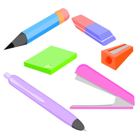 requisite: Vector set of colored accessories for office and school pencil, Stapler, pencil sharpener. Vector illustration