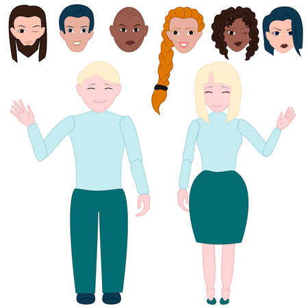 one parent: Set prefabricated vector colored people, with separate parts. Vector illustration Illustration