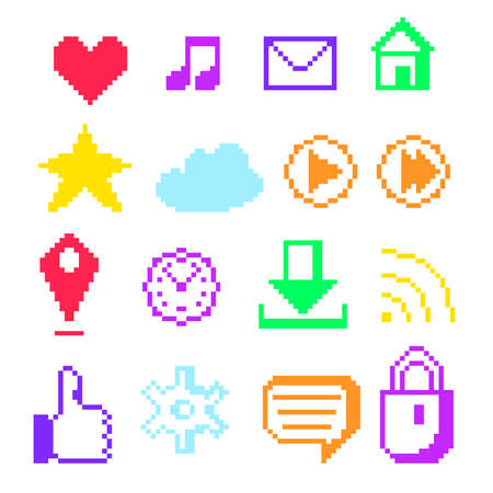 wap: Set of sixteen icons for social networking and digital gadgets in style pixel art. Vector illustration