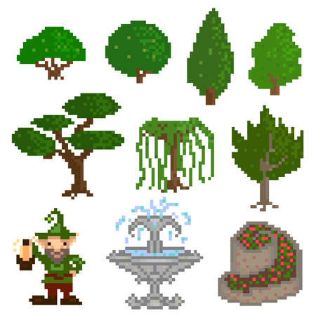 shrubs: Set of ten elements, garden trees, shrubs and decorations in the style of pixel art. Vector illustration