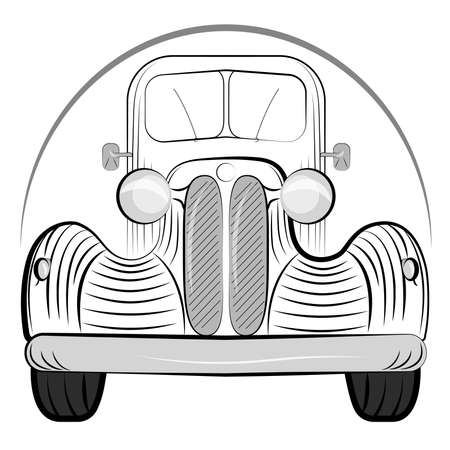 car side view: Old retro car side view vintage drawing style. Vector illustration Illustration