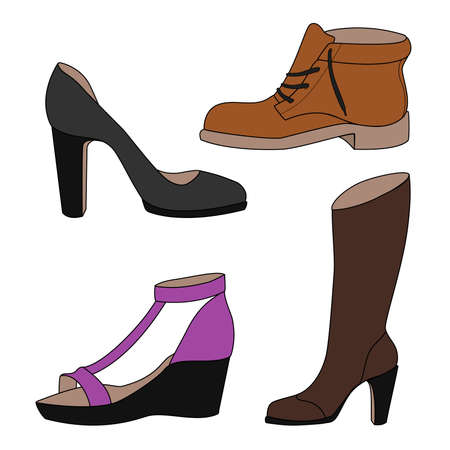 women's shoes: Set of vector icons of womens shoes in color shoes, boots, sandals. Vector illustration