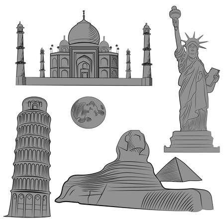 Set van de wereld beroemde architectonische bezienswaardigheden van de verschillende landen, zwart-wit met gedetailleerde. Vector illustratie Stock Illustratie